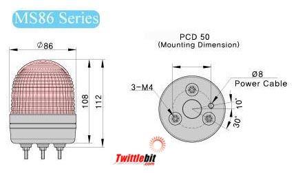 MS86LB02B, 24VAC/DC LED Steady or Flashing Individual Beacon Lights