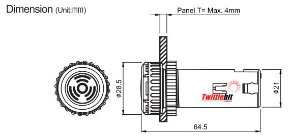 B2NB-B1D, 22mm Panel Mount Buzzer