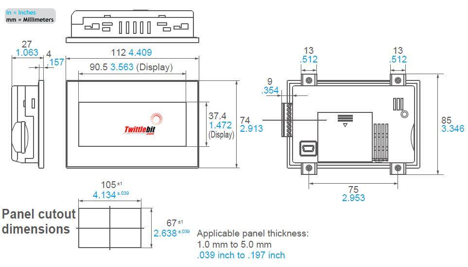 "AIG02GQ22D, 3.8"" GT02 HMI Operator Interface"