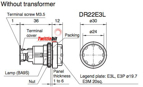 DR22E3LE3G, 22mm Extended Round Pilot Light, 24VAC/DC LED, without Transformer