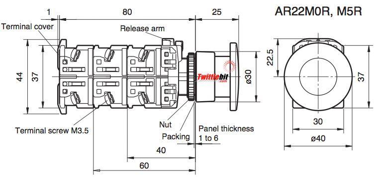 AR22M0R10W, 22mm Mushroom Head Pushbuttons