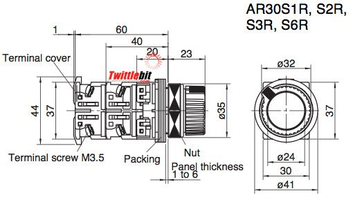 AR30S2R22B, 30mm 2 Position Combination Pushbutton / Selector Switch