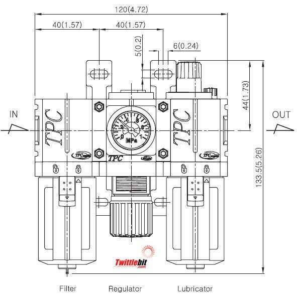 PC202D5G, PC2 Series FRL- Filter, Regulator, and Lubricator