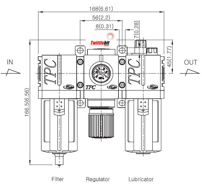 PC3N03DG, PC3 Series FRL- Filter, Regulator, and Lubricator