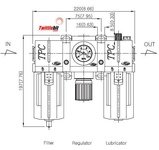 PC404DGL, PC4 Series FRL- Filter, Regulator, and Lubricator