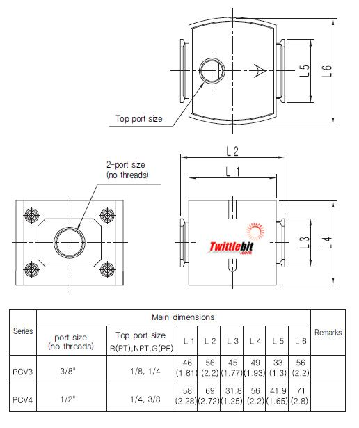 PCV404N03BR, Modular Check Valve