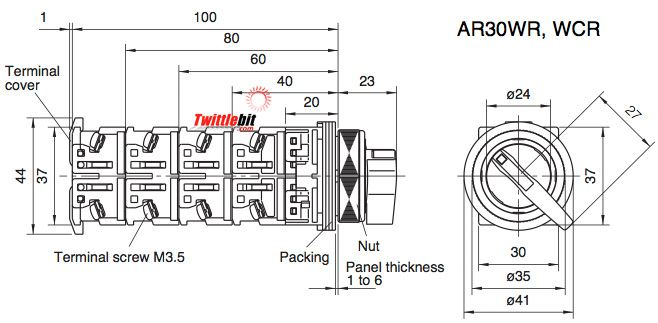 AR30WR-211B, 30mm 2 Position Non-Illuminated Selector Switches