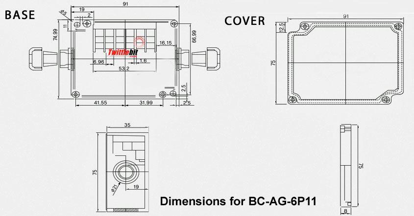 BCAG6P11, 6 terminal junction box