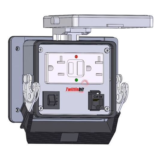 GFDP1RJ4510R32, NEW Panel Interface Connector with external GFCI & internal Simplex outlet, NFPA 79 standard, RJ45 connection