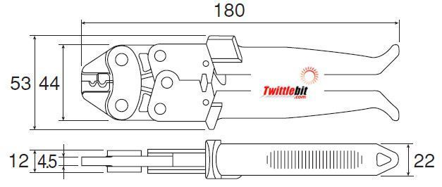 P732, Hozan 180mm long crimping tool for 16 AWG (1.25mm²) & 14 AWG (2.0mm²) non-insulated terminals