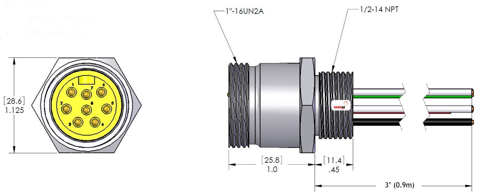 MIN8MR2318, MINI (Size 2) 8 Pole PVC Straight Receptacles