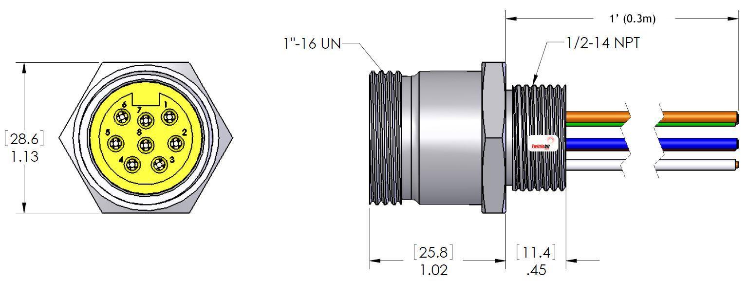 MIN8FR2118, MINI (Size 2) 8 Pole PVC Straight Receptacles