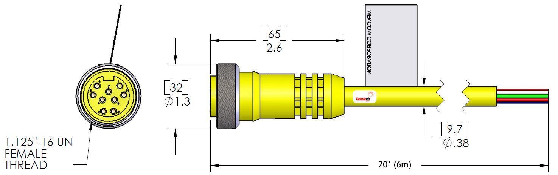 MIN-9FPX-20, MINI (Size 3) 9 Pole PVC Straight Cables