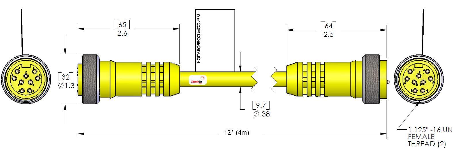 MIN9MFPX12, MINI (Size 3) 9 Pole PVC Straight Cables