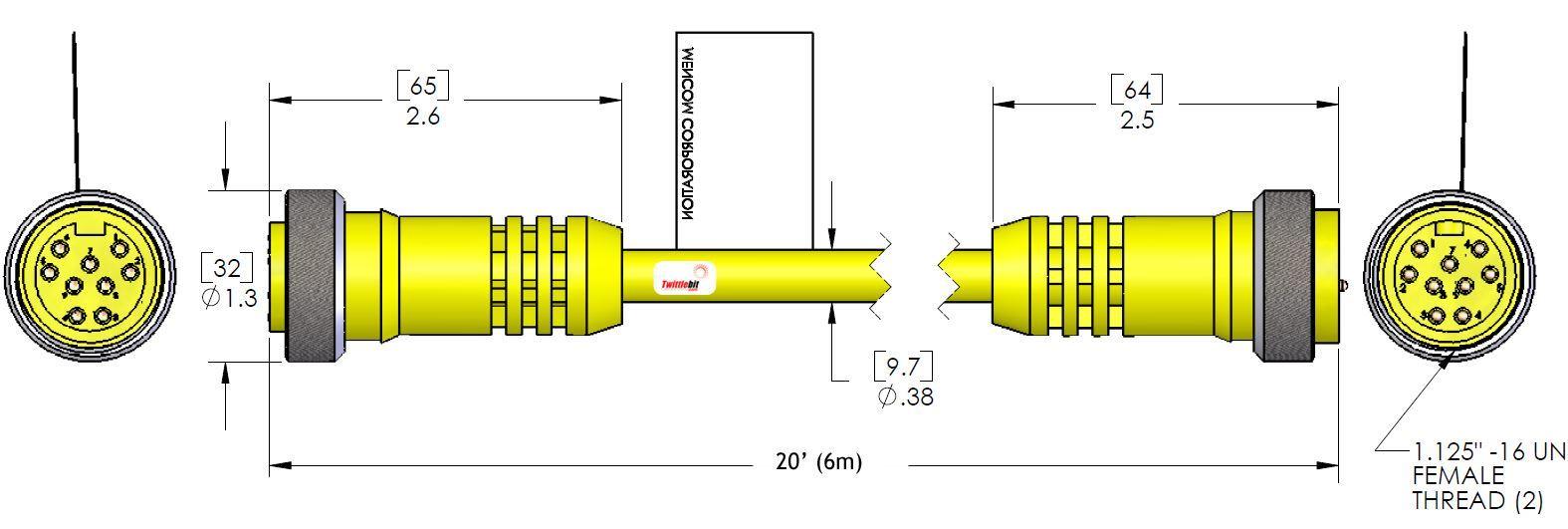 MIN9MFPX20, MINI (Size 3) 9 Pole PVC Straight Cables