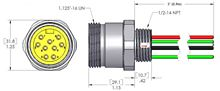 MIN-9MR-3-18, MINI (Size 3) 9 Pole PVC Straight Receptacles