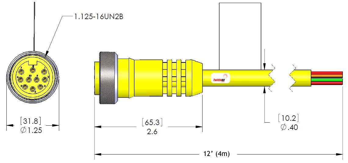 MIN10FPX12, MINI (Size 3) 10 Pole PVC Straight Cables
