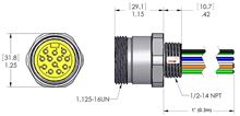 MIN-12MR-1-18, MINI (Size 3) 12 Pole PVC Straight Receptacles