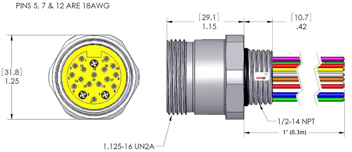 MIN19FR1, MINI (Size 3) 19 Pole PVC Straight Receptacles
