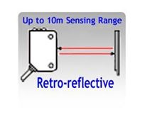 Picture for category Retro-reflective Photoelectric Sensors, Up to 10 Meters Sensing Range