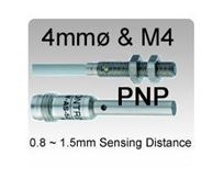 4mmø & M4 DC 3 wire PNP Miniature Inductive Proximity Sensors