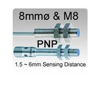 8mmø & M8 DC 3 wire PNP Inductive Proximity Sensors