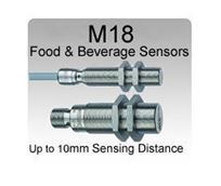 M18 One Piece S.S. V4A Food & Beverage Inductive Proximity Sensors, IP68 / IP69K rating