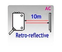 80x25mm Rectangular AC Retro-reflective Photoelectric Sensors