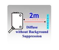 50x50x23mm Compact Diffuse without Background Suppression Photoelectric Sensors