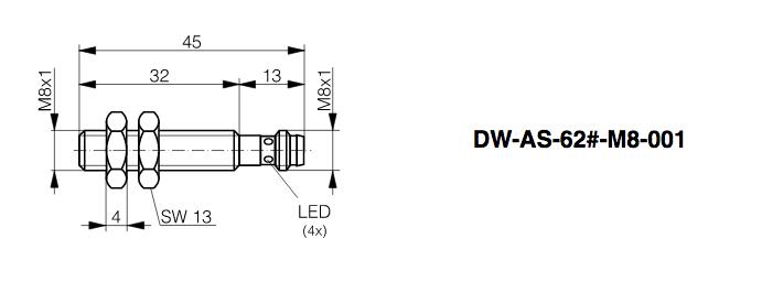 DWAS623M8001, M8 DC 3 wire Prox.